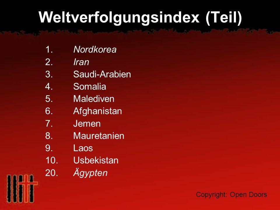 Weltverfolgungsindex (Teil) 1. Nordkorea 2. Iran 3. Saudi-Arabien 4. Somalia 5. Malediven 6. Afghanistan 7. Jemen 8. Mauretanien 9. Laos 10. Usbekista