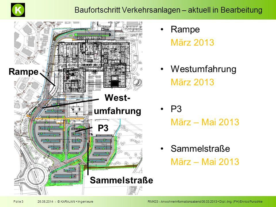 Baufortschritt Verkehrsanlagen – aktuell in Bearbeitung 26.05.2014 - © KARAJAN IngenieureFolie 3RMK03 - Anwohnerinformationsabend 05.03.2013 Dipl.-Ing.