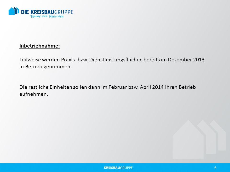 KREISBAUGRUPPE 6 Inbetriebnahme: Teilweise werden Praxis- bzw. Dienstleistungsflächen bereits im Dezember 2013 in Betrieb genommen. Die restliche Einh
