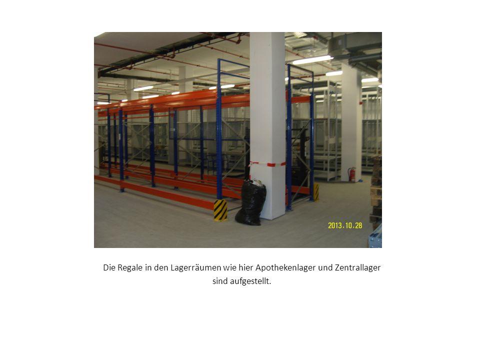 Die Regale in den Lagerräumen wie hier Apothekenlager und Zentrallager sind aufgestellt.