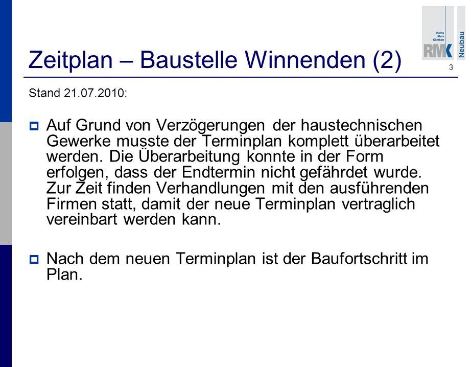 3 Zeitplan – Baustelle Winnenden (2) Stand 21.07.2010: Auf Grund von Verzögerungen der haustechnischen Gewerke musste der Terminplan komplett überarbeitet werden.