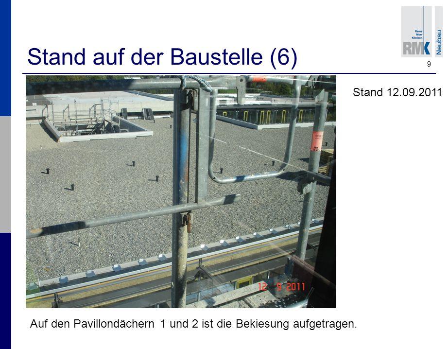 9 Stand auf der Baustelle (6) Auf den Pavillondächern 1 und 2 ist die Bekiesung aufgetragen.