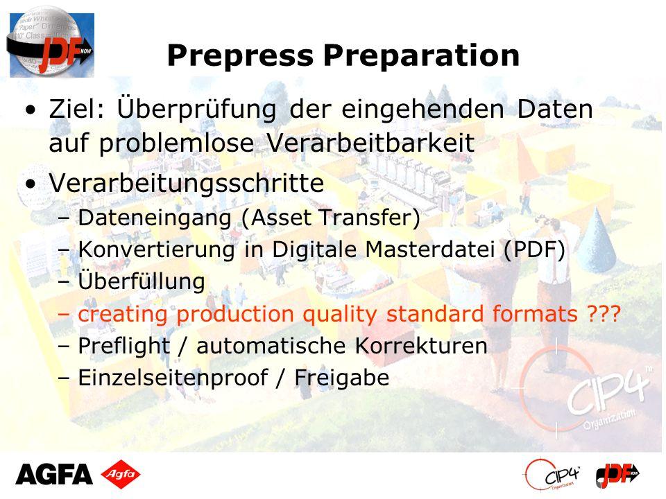 Prepress Preparation Ziel: Überprüfung der eingehenden Daten auf problemlose Verarbeitbarkeit Verarbeitungsschritte –Dateneingang (Asset Transfer) –Ko
