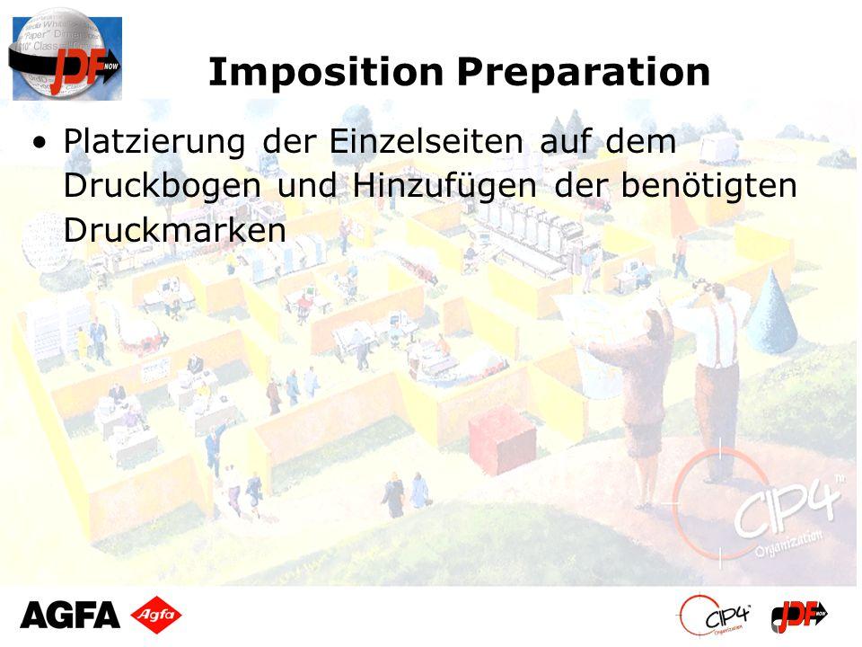 Imposition Preparation Platzierung der Einzelseiten auf dem Druckbogen und Hinzufügen der benötigten Druckmarken