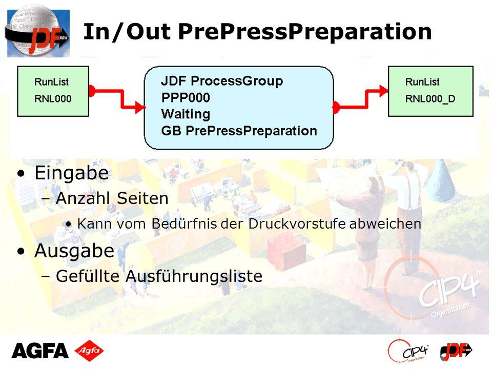 In/Out PrePressPreparation Eingabe –Anzahl Seiten Kann vom Bedürfnis der Druckvorstufe abweichen Ausgabe –Gefüllte Ausführungsliste