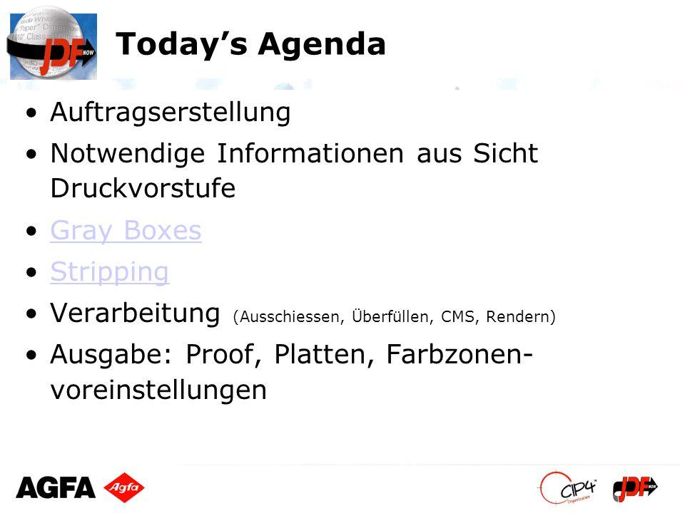 Todays Agenda Auftragserstellung Notwendige Informationen aus Sicht Druckvorstufe Gray Boxes Stripping Verarbeitung (Ausschiessen, Überfüllen, CMS, Re