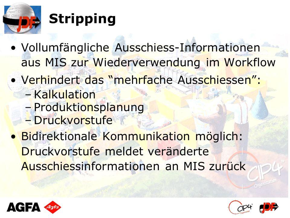 Stripping Vollumfängliche Ausschiess-Informationen aus MIS zur Wiederverwendung im Workflow Verhindert das mehrfache Ausschiessen: –Kalkulation –Produ