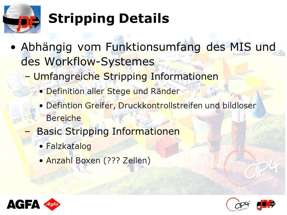 Stripping Details Abhängig vom Funktionsumfang des MIS und des Workflow-Systemes –Umfangreiche Stripping Informationen Definition aller Stege und Ränd