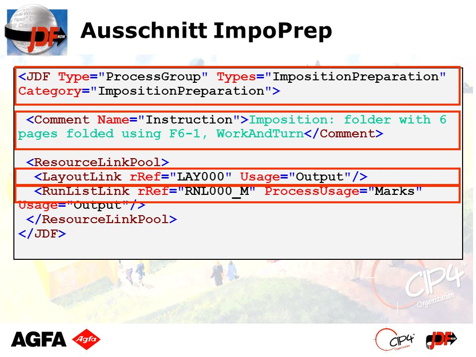 Ausschnitt ImpoPrep Imposition: folder with 6 pages folded using F6-1, WorkAndTurn