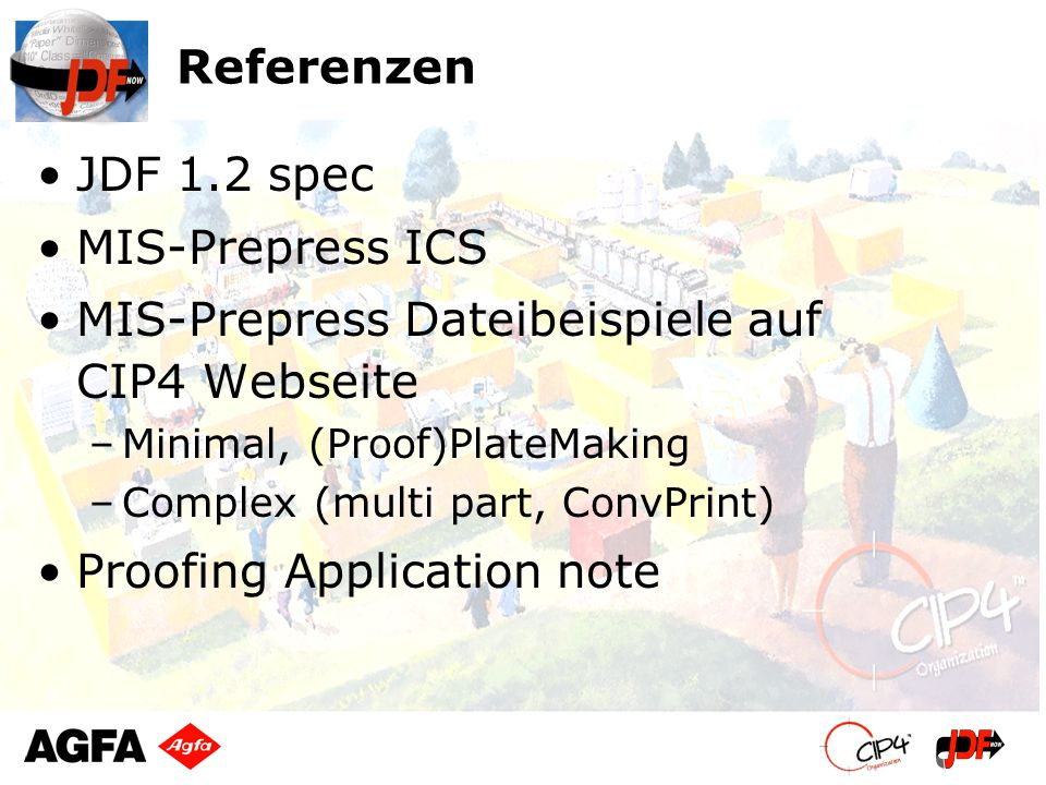 Referenzen JDF 1.2 spec MIS-Prepress ICS MIS-Prepress Dateibeispiele auf CIP4 Webseite –Minimal, (Proof)PlateMaking –Complex (multi part, ConvPrint) P