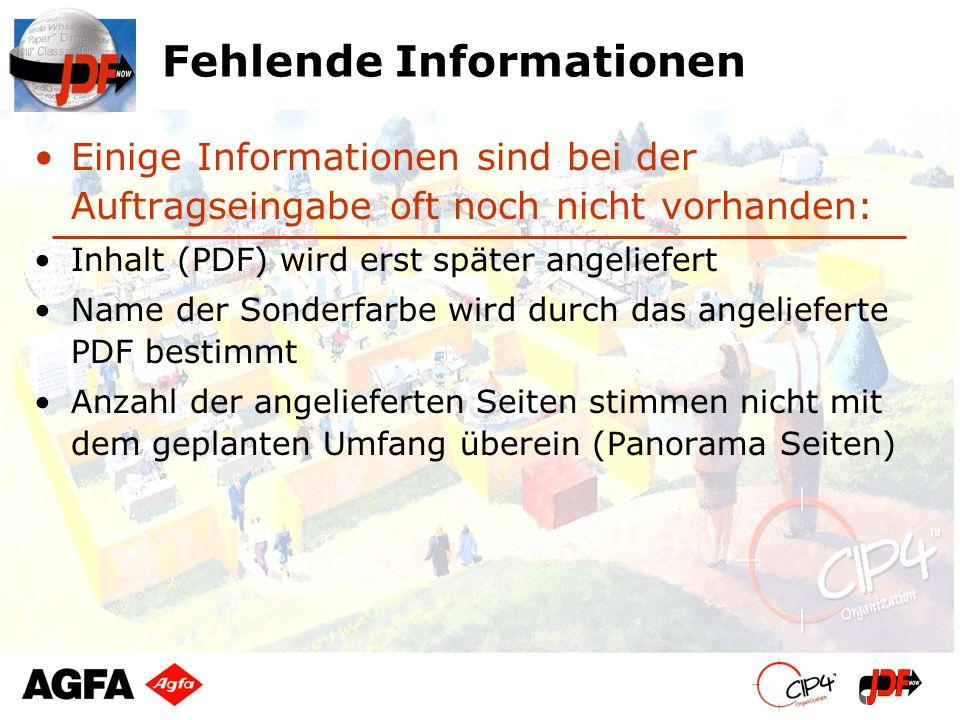Fehlende Informationen Einige Informationen sind bei der Auftragseingabe oft noch nicht vorhanden: Inhalt (PDF) wird erst später angeliefert Name der