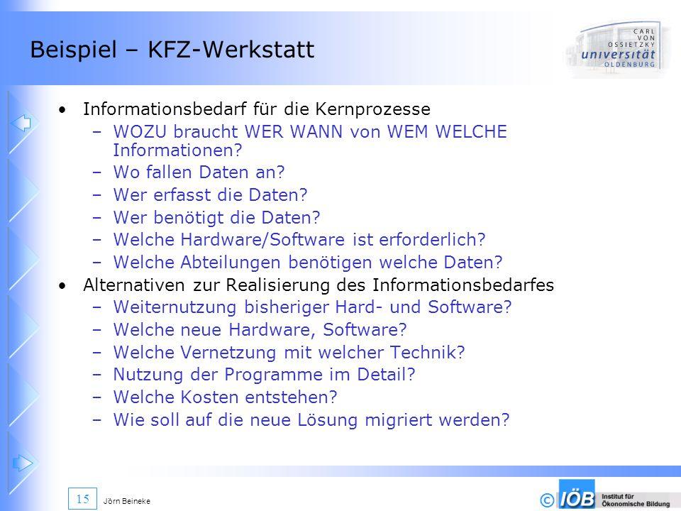 © Jörn Beineke 15 Beispiel – KFZ-Werkstatt Informationsbedarf für die Kernprozesse –WOZU braucht WER WANN von WEM WELCHE Informationen? –Wo fallen Dat