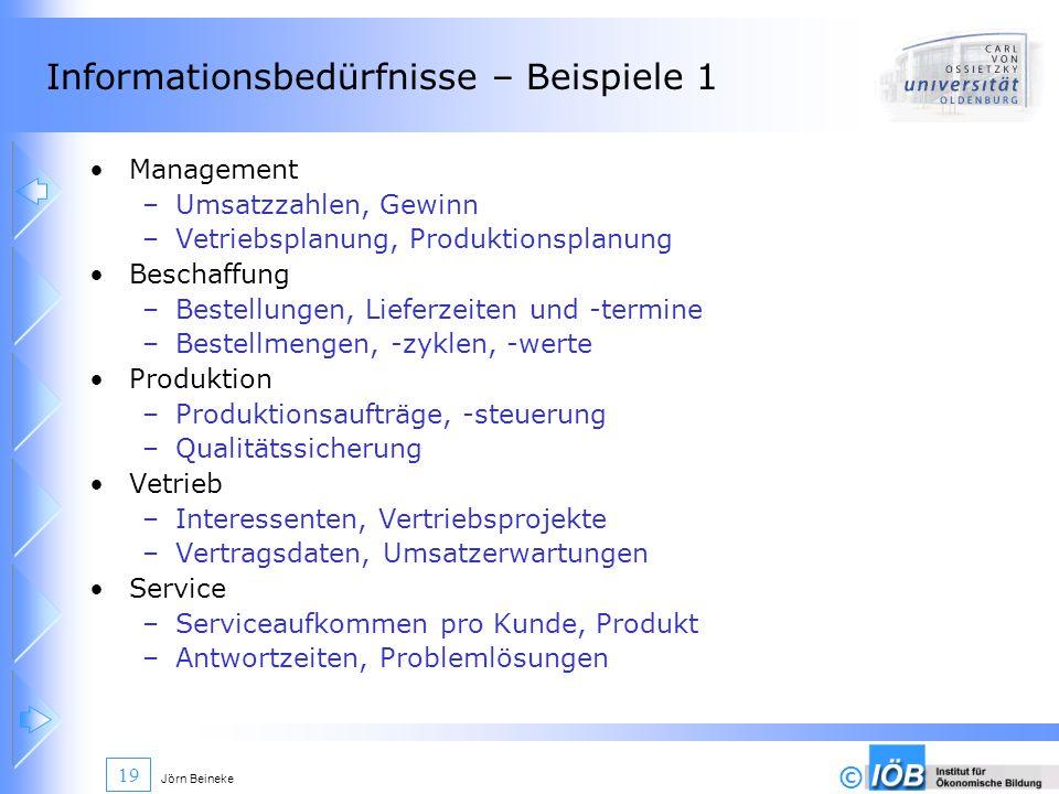 © Jörn Beineke 19 Informationsbedürfnisse – Beispiele 1 Management –Umsatzzahlen, Gewinn –Vetriebsplanung, Produktionsplanung Beschaffung –Bestellunge