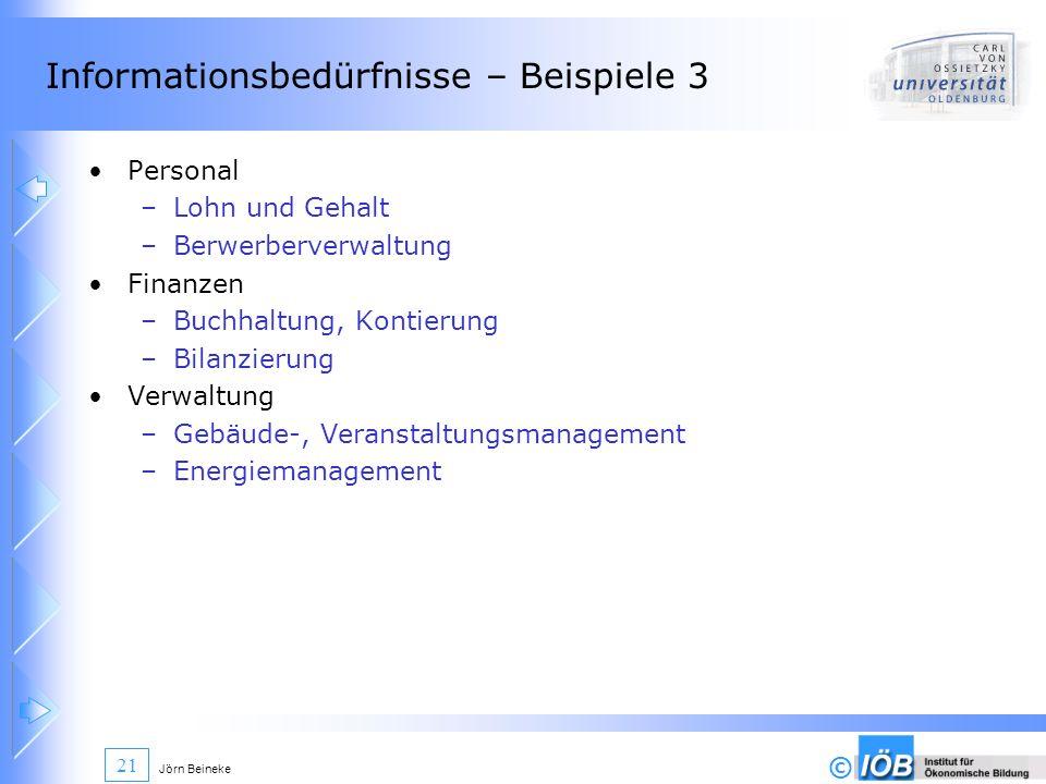 © Jörn Beineke 21 Informationsbedürfnisse – Beispiele 3 Personal –Lohn und Gehalt –Berwerberverwaltung Finanzen –Buchhaltung, Kontierung –Bilanzierung