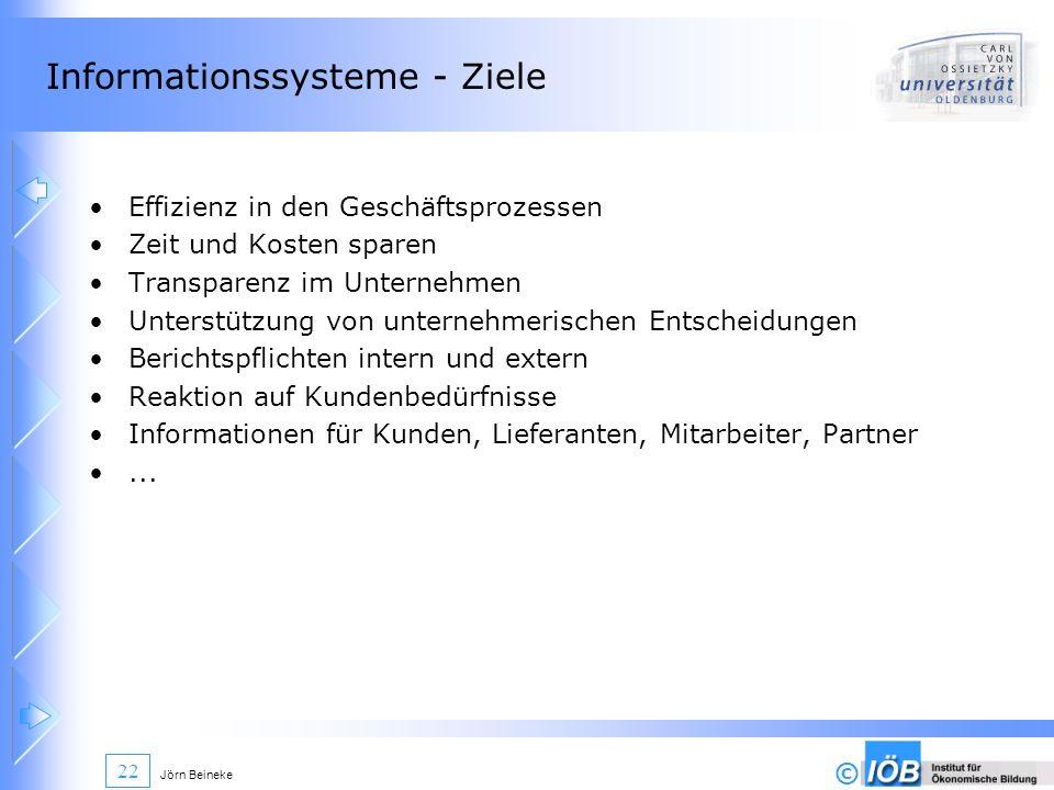 © Jörn Beineke 22 Informationssysteme - Ziele Effizienz in den Geschäftsprozessen Zeit und Kosten sparen Transparenz im Unternehmen Unterstützung von