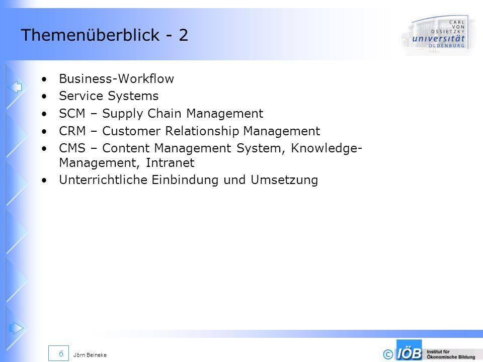 © Jörn Beineke 17 Informationssysteme in Unternehmen - Überblick