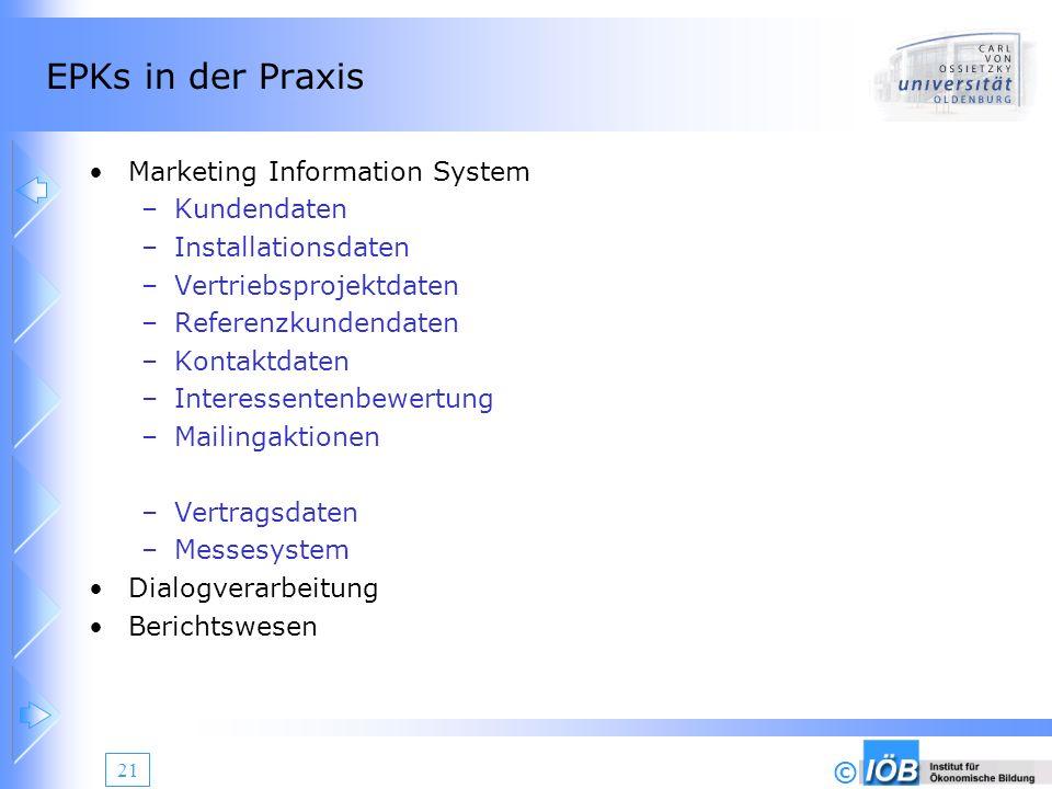 © 21 EPKs in der Praxis Marketing Information System –Kundendaten –Installationsdaten –Vertriebsprojektdaten –Referenzkundendaten –Kontaktdaten –Inter