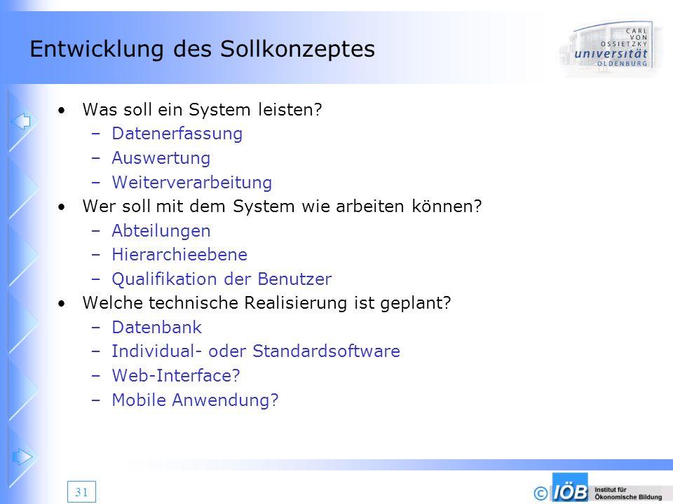 © 31 Entwicklung des Sollkonzeptes Was soll ein System leisten? –Datenerfassung –Auswertung –Weiterverarbeitung Wer soll mit dem System wie arbeiten k