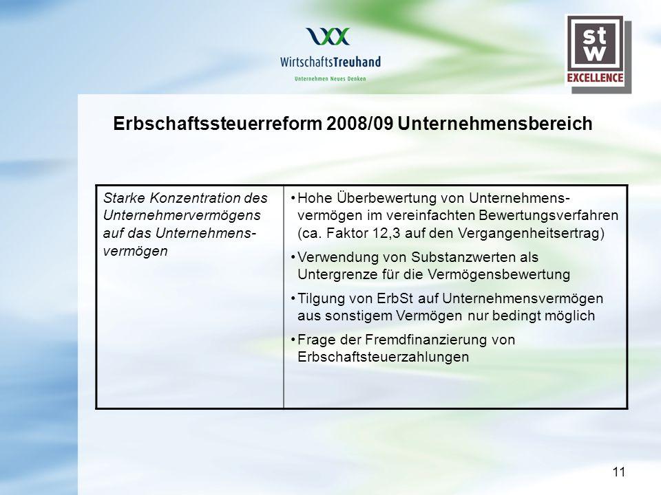 11 Erbschaftssteuerreform 2008/09 Unternehmensbereich Starke Konzentration des Unternehmervermögens auf das Unternehmens- vermögen Hohe Überbewertung von Unternehmens- vermögen im vereinfachten Bewertungsverfahren (ca.