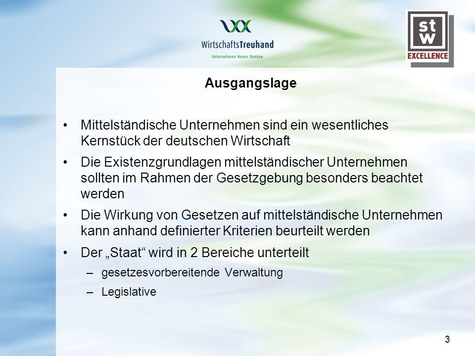 3 Ausgangslage Mittelständische Unternehmen sind ein wesentliches Kernstück der deutschen Wirtschaft Die Existenzgrundlagen mittelständischer Unternehmen sollten im Rahmen der Gesetzgebung besonders beachtet werden Die Wirkung von Gesetzen auf mittelständische Unternehmen kann anhand definierter Kriterien beurteilt werden Der Staat wird in 2 Bereiche unterteilt –gesetzesvorbereitende Verwaltung –Legislative