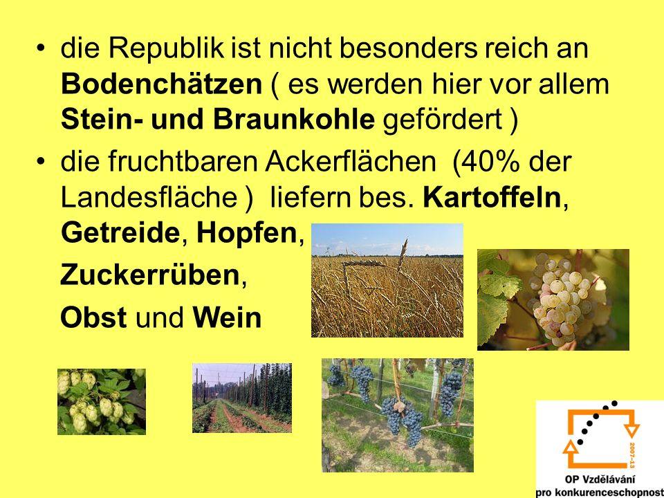 die Republik ist nicht besonders reich an Bodenchätzen ( es werden hier vor allem Stein- und Braunkohle gefördert ) die fruchtbaren Ackerflächen (40%