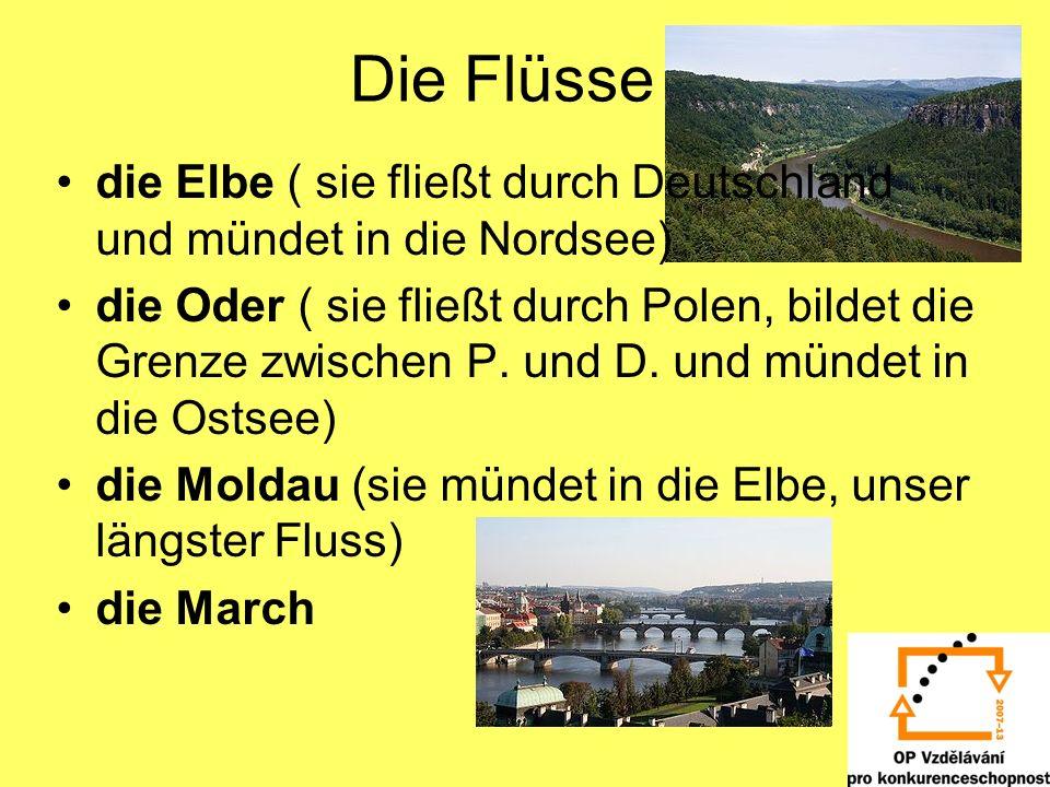 Die Flüsse die Elbe ( sie fließt durch Deutschland und mündet in die Nordsee) die Oder ( sie fließt durch Polen, bildet die Grenze zwischen P. und D.