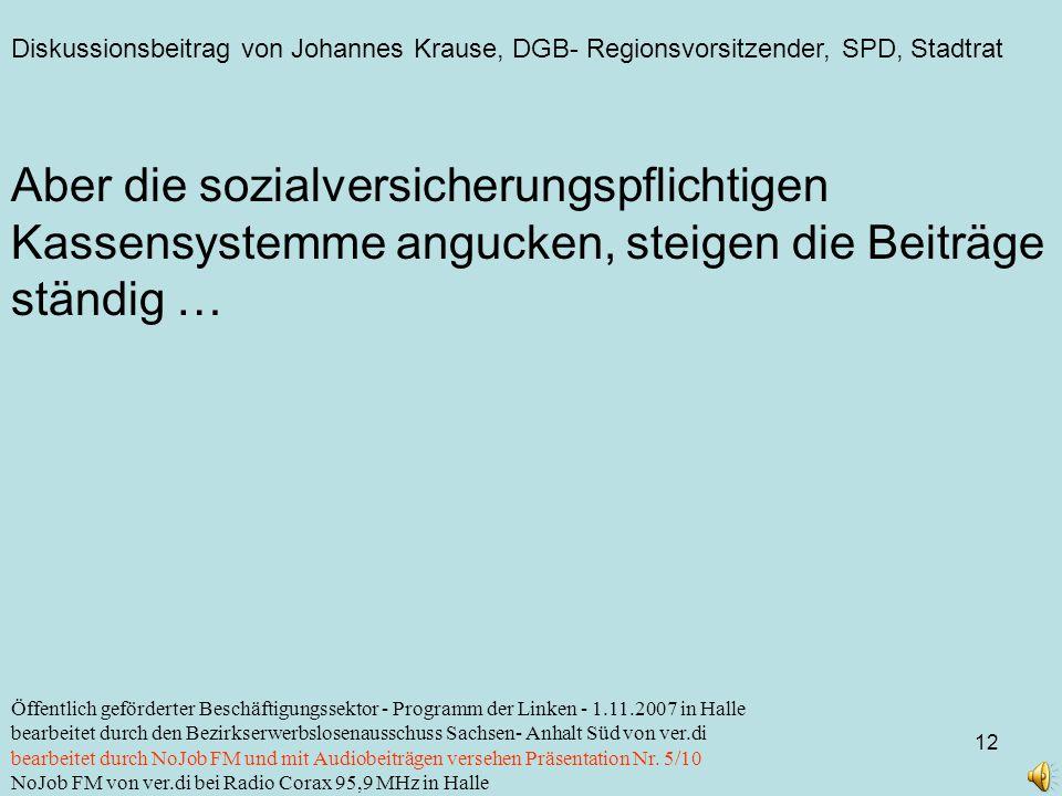 Diskussionsbeitrag von Johannes Krause, DGB- Regionsvorsitzender, SPD, Stadtrat 12 Öffentlich geförderter Beschäftigungssektor - Programm der Linken -