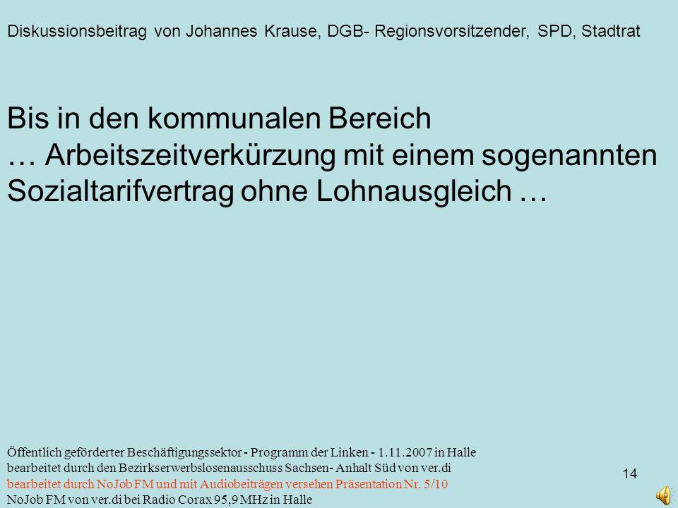 Diskussionsbeitrag von Johannes Krause, DGB- Regionsvorsitzender, SPD, Stadtrat 14 Öffentlich geförderter Beschäftigungssektor - Programm der Linken -