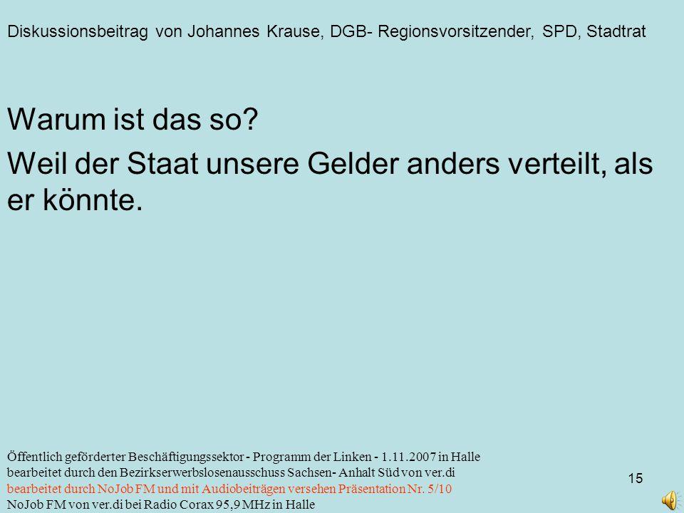 Diskussionsbeitrag von Johannes Krause, DGB- Regionsvorsitzender, SPD, Stadtrat 15 Öffentlich geförderter Beschäftigungssektor - Programm der Linken -