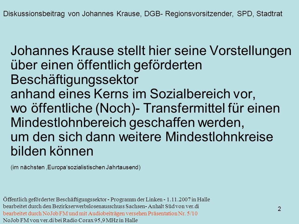 Diskussionsbeitrag von Johannes Krause, DGB- Regionsvorsitzender, SPD, Stadtrat 2 Öffentlich geförderter Beschäftigungssektor - Programm der Linken -