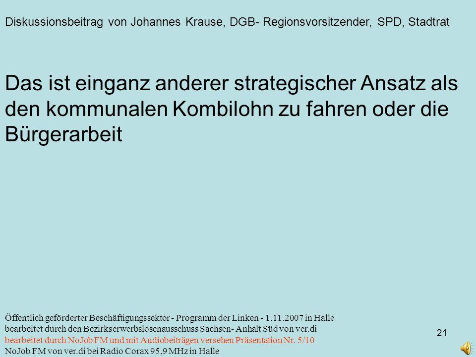 Diskussionsbeitrag von Johannes Krause, DGB- Regionsvorsitzender, SPD, Stadtrat 21 Öffentlich geförderter Beschäftigungssektor - Programm der Linken -