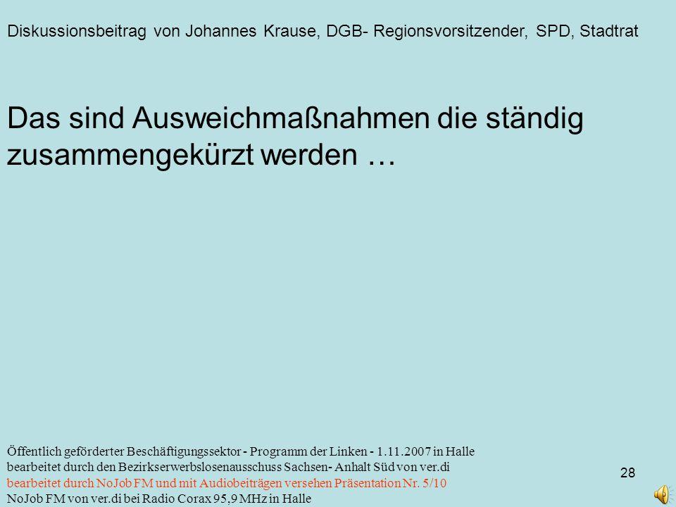 Diskussionsbeitrag von Johannes Krause, DGB- Regionsvorsitzender, SPD, Stadtrat 28 Öffentlich geförderter Beschäftigungssektor - Programm der Linken -