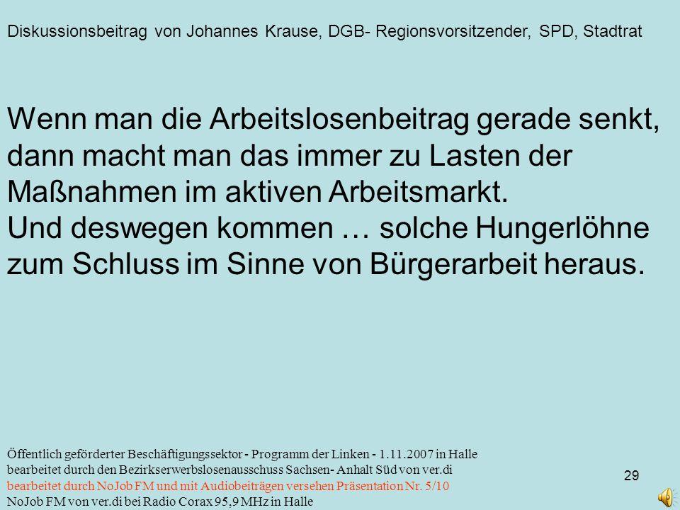 Diskussionsbeitrag von Johannes Krause, DGB- Regionsvorsitzender, SPD, Stadtrat 29 Öffentlich geförderter Beschäftigungssektor - Programm der Linken -