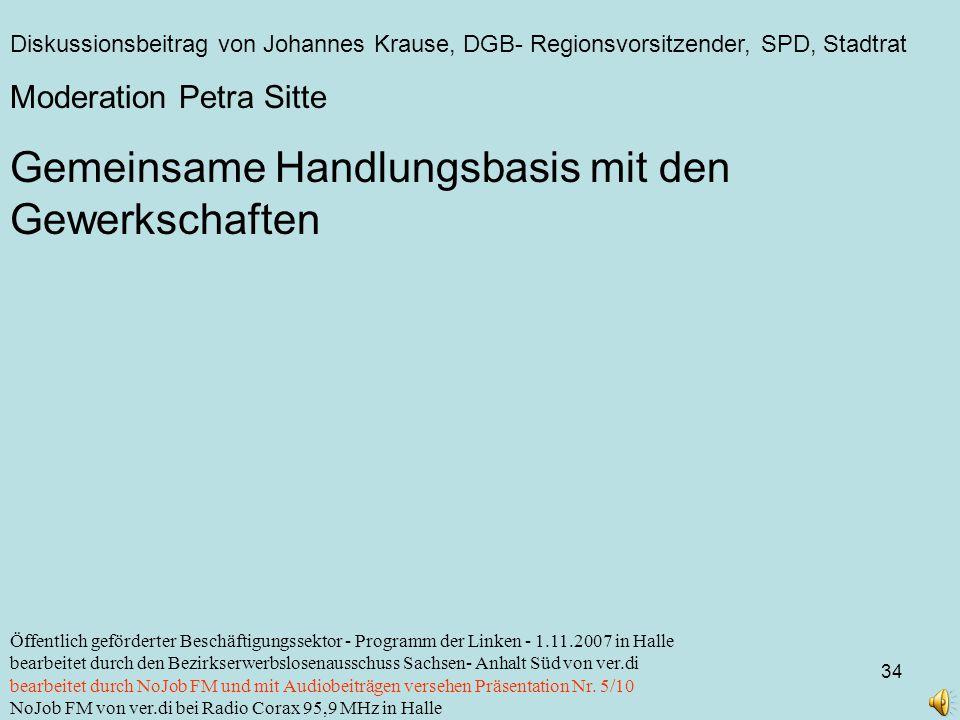 Diskussionsbeitrag von Johannes Krause, DGB- Regionsvorsitzender, SPD, Stadtrat 34 Öffentlich geförderter Beschäftigungssektor - Programm der Linken -