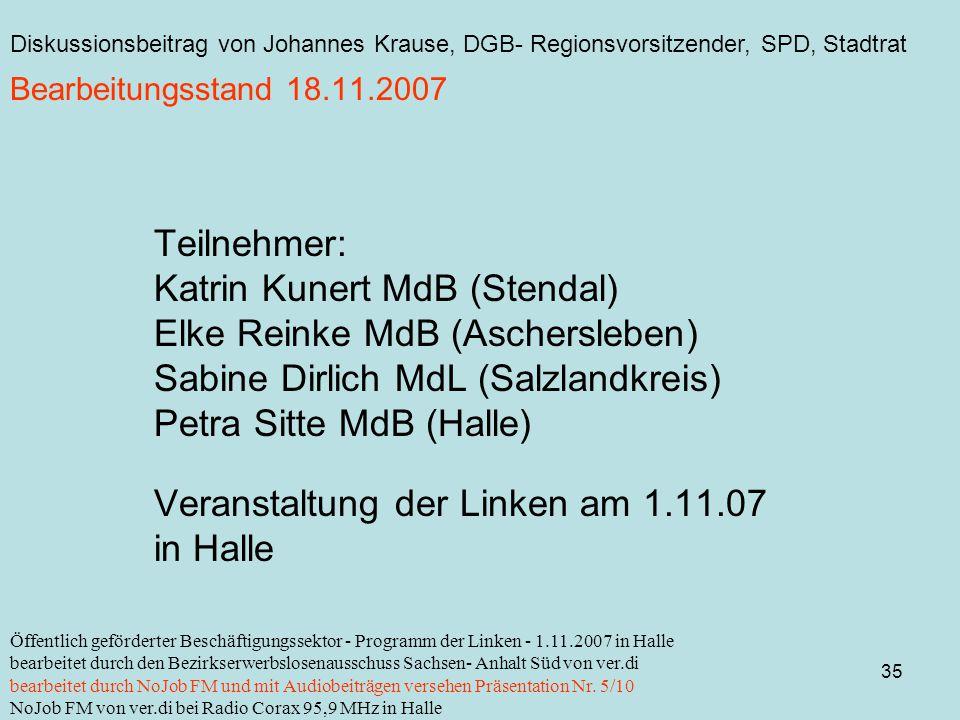 Diskussionsbeitrag von Johannes Krause, DGB- Regionsvorsitzender, SPD, Stadtrat 35 Öffentlich geförderter Beschäftigungssektor - Programm der Linken - 1.11.2007 in Halle bearbeitet durch den Bezirkserwerbslosenausschuss Sachsen- Anhalt Süd von ver.di bearbeitet durch NoJob FM und mit Audiobeiträgen versehen Präsentation Nr.