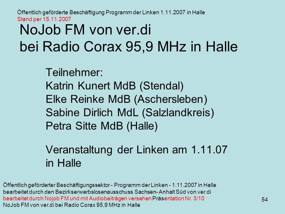 54 NoJob FM von ver.di bei Radio Corax 95,9 MHz in Halle Teilnehmer: Katrin Kunert MdB (Stendal) Elke Reinke MdB (Aschersleben) Sabine Dirlich MdL (Salzlandkreis) Petra Sitte MdB (Halle) Veranstaltung der Linken am 1.11.07 in Halle Öffentlich geförderte Beschäftigung Programm der Linken 1.11.2007 in Halle Stand per 15.11.2007 Öffentlich geförderter Beschäftigungssektor - Programm der Linken - 1.11.2007 in Halle bearbeitet durch den Bezirkserwerbslosenausschuss Sachsen- Anhalt Süd von ver.di bearbeitet durch Nojob FM und mit Audiobeiträgen versehen Präsentation Nr.