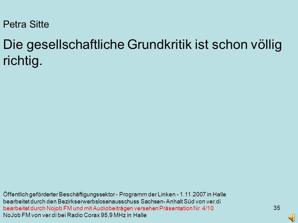 35 Petra Sitte Die gesellschaftliche Grundkritik ist schon völlig richtig.