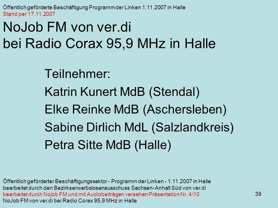 39 NoJob FM von ver.di bei Radio Corax 95,9 MHz in Halle Teilnehmer: Katrin Kunert MdB (Stendal) Elke Reinke MdB (Aschersleben) Sabine Dirlich MdL (Salzlandkreis) Petra Sitte MdB (Halle) Öffentlich geförderte Beschäftigung Programm der Linken 1.11.2007 in Halle Stand per 17.11.2007 Öffentlich geförderter Beschäftigungssektor - Programm der Linken - 1.11.2007 in Halle bearbeitet durch den Bezirkserwerbslosenausschuss Sachsen- Anhalt Süd von ver.di bearbeitet durch Nojob FM und mit Audiobeiträgen versehen Präsentation Nr.