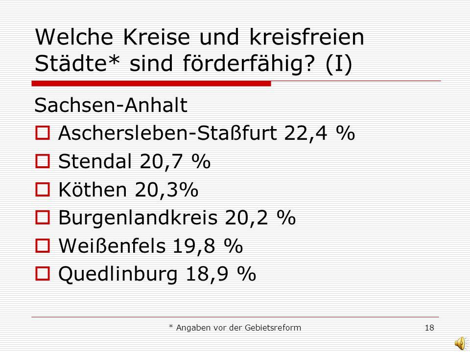 * Angaben vor der Gebietsreform18 Welche Kreise und kreisfreien Städte* sind förderfähig? (I) Sachsen-Anhalt Aschersleben-Staßfurt 22,4 % Stendal 20,7