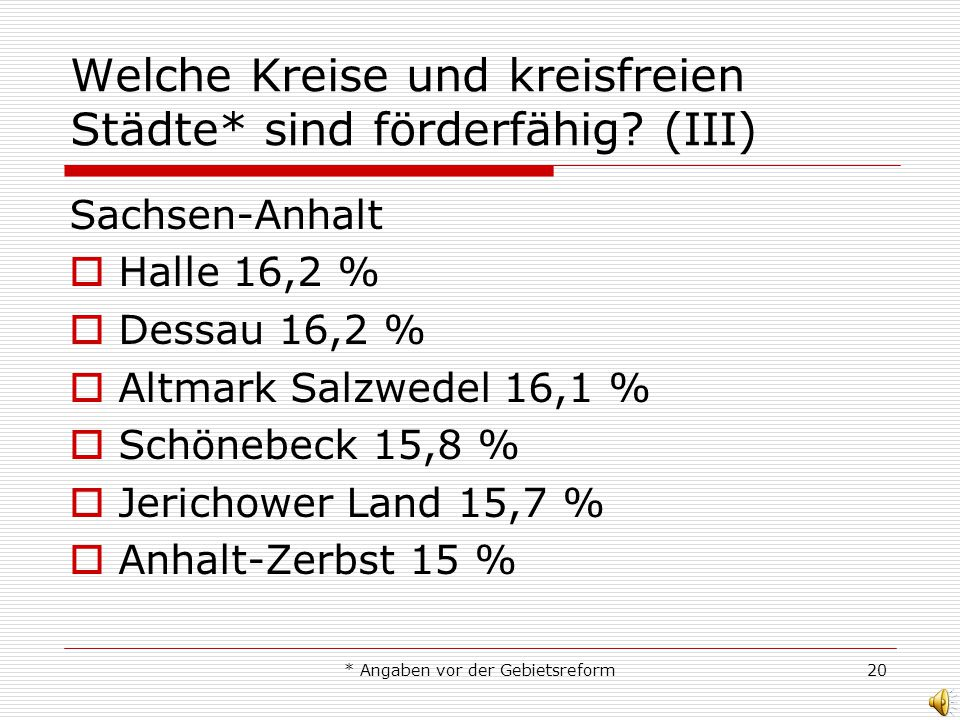 * Angaben vor der Gebietsreform20 Welche Kreise und kreisfreien Städte* sind förderfähig? (III) Sachsen-Anhalt Halle 16,2 % Dessau 16,2 % Altmark Salz