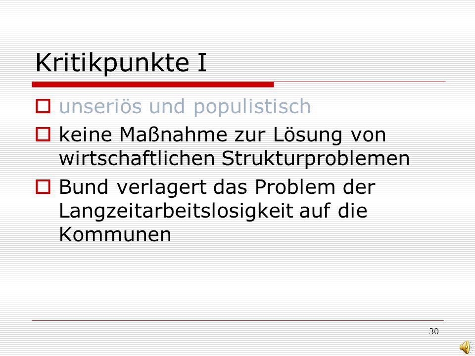 30 Kritikpunkte I unseriös und populistisch keine Maßnahme zur Lösung von wirtschaftlichen Strukturproblemen Bund verlagert das Problem der Langzeitarbeitslosigkeit auf die Kommunen