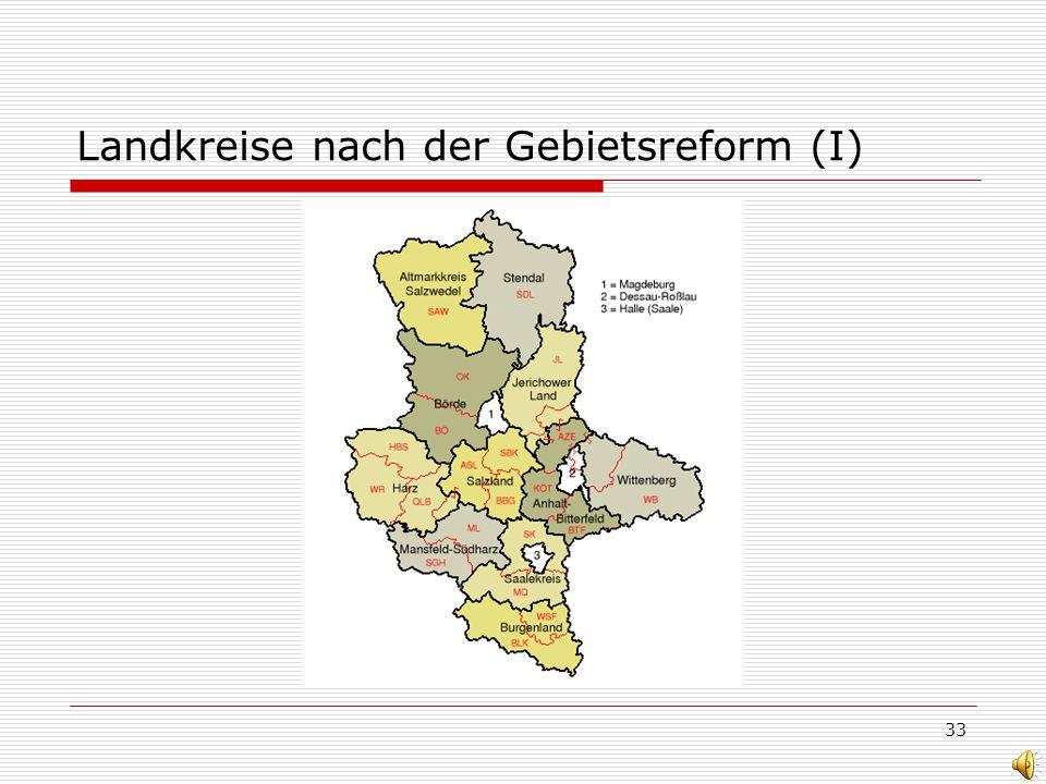 33 Landkreise nach der Gebietsreform (I)