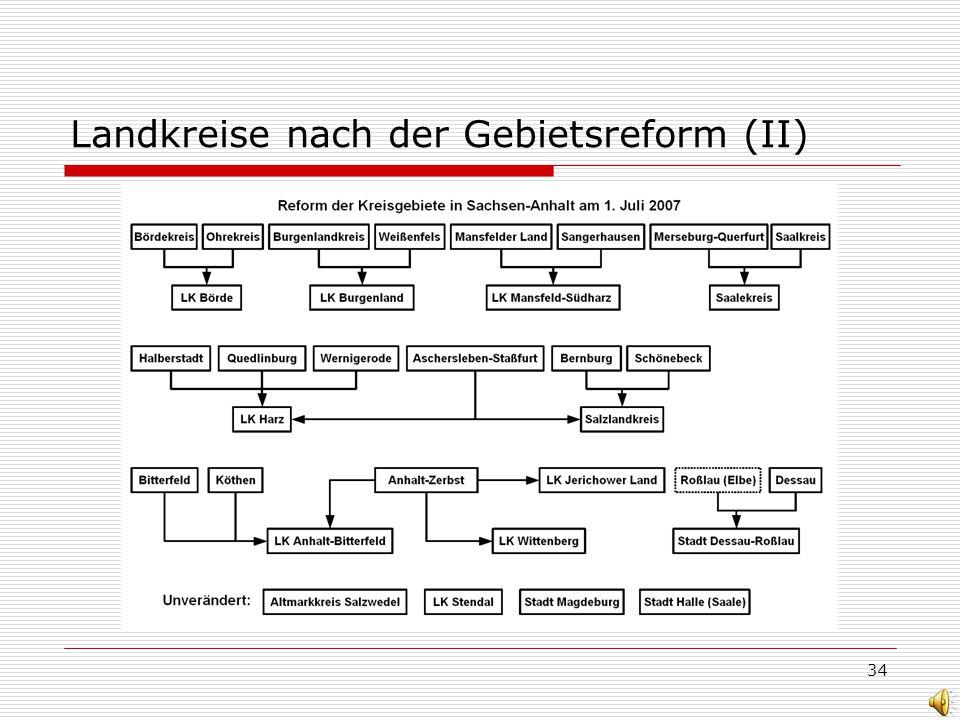 34 Landkreise nach der Gebietsreform (II)