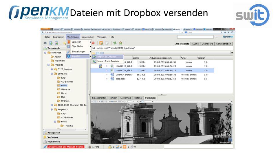 Dateien mit Dropbox versenden