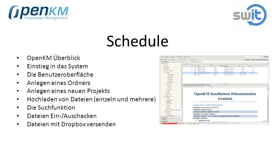 Schedule OpenKM Überblick Einstieg in das System Die Benutzeroberfläche Anlegen eines Ordners Anlegen eines neuen Projekts Hochladen von Dateien (einz