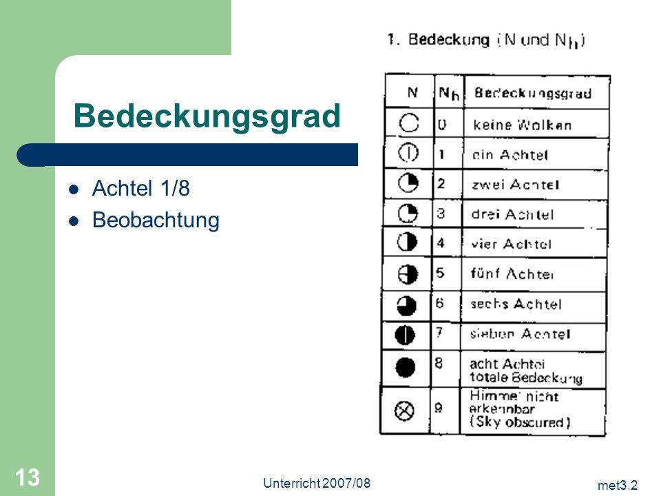 met3.2 Unterricht 2007/08 13 Bedeckungsgrad Achtel 1/8 Beobachtung