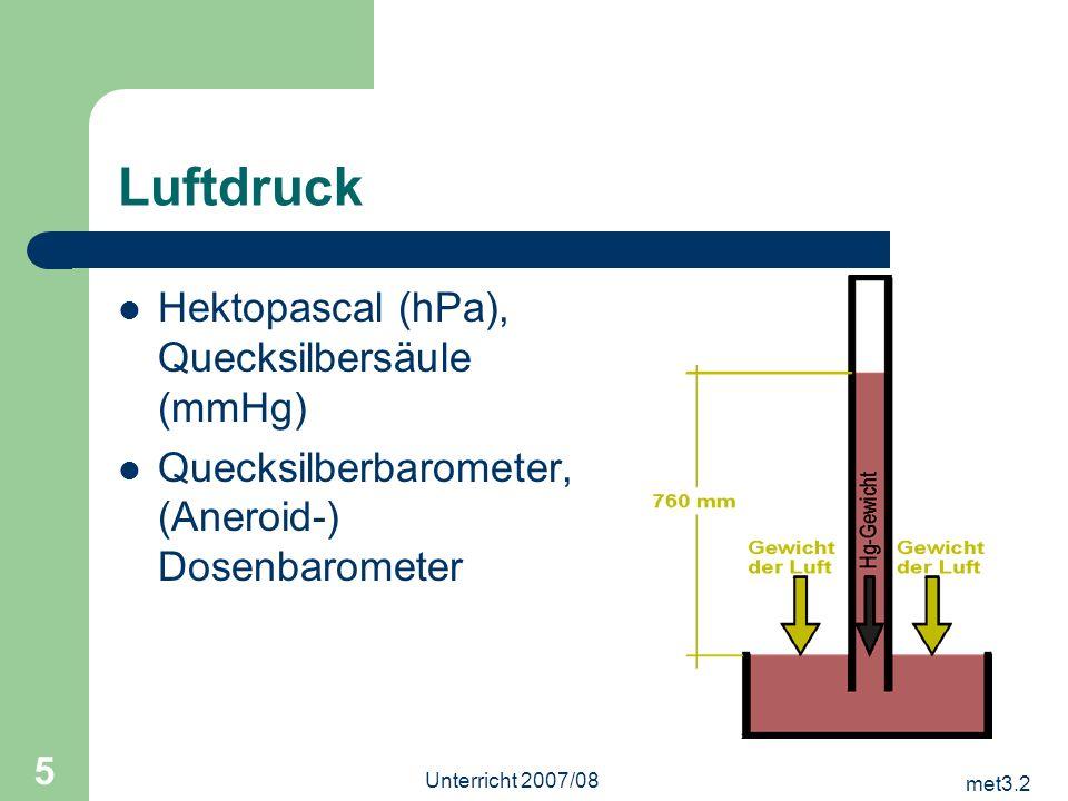met3.2 Unterricht 2007/08 5 Luftdruck Hektopascal (hPa), Quecksilbersäule (mmHg) Quecksilberbarometer, (Aneroid-) Dosenbarometer