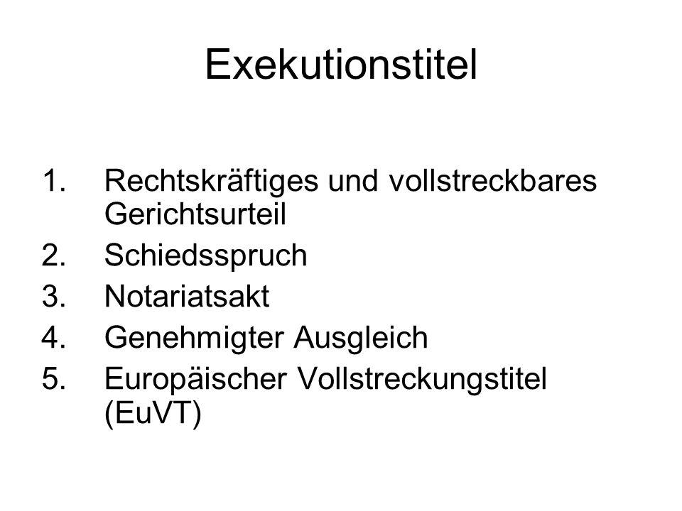 Exekutionstitel 1.Rechtskräftiges und vollstreckbares Gerichtsurteil 2.Schiedsspruch 3.Notariatsakt 4.Genehmigter Ausgleich 5.Europäischer Vollstrecku