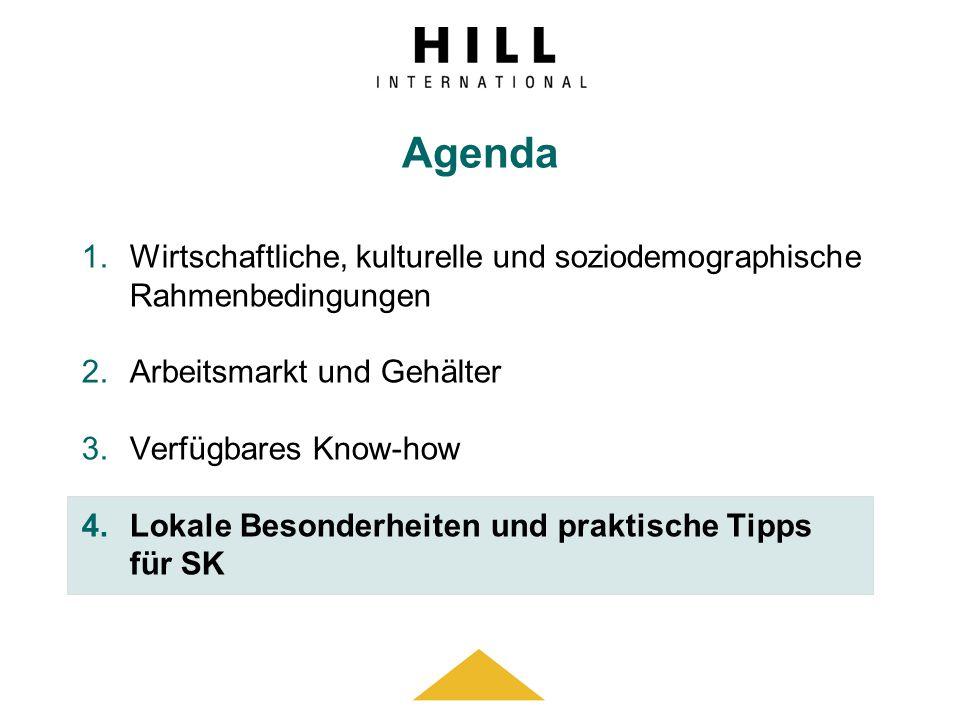 Agenda 1.Wirtschaftliche, kulturelle und soziodemographische Rahmenbedingungen 2.Arbeitsmarkt und Gehälter 3.Verfügbares Know-how 4.Lokale Besonderhei
