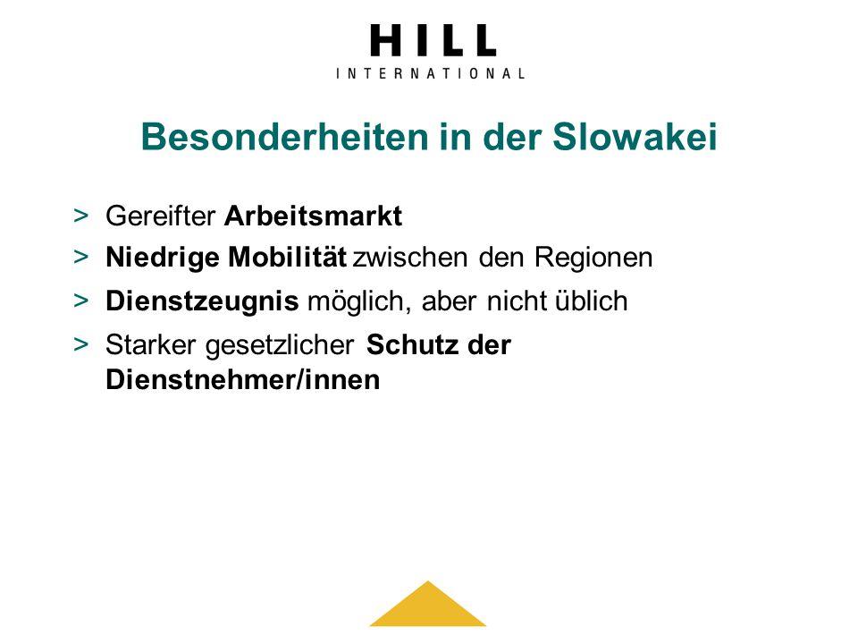 Besonderheiten in der Slowakei >Gereifter Arbeitsmarkt >Niedrige Mobilität zwischen den Regionen >Dienstzeugnis möglich, aber nicht üblich >Starker ge